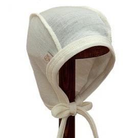 Baby muts met touwtjes merinowol zijde