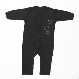 Kruippakje pyjama bamboe viscose zwart