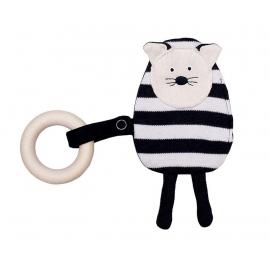 Houten bijtring met stoffen kat zwart wit